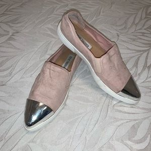 Steve Madden pink slip-ons with silver metal toe